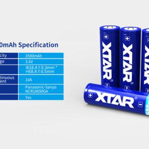 XTAR 18650 Batteri 3500 Lumen